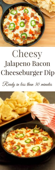 A hot baked dip chock full of ground beef, jalapeños, bacon and cheese comes together all in one skillet. It is quick and easy and makes this Cheesy Jalapeño Bacon Dip perfect for game day snacking! Compensation was provided on behalf of Lipton® Recipe Secrets. #GameTimeDips