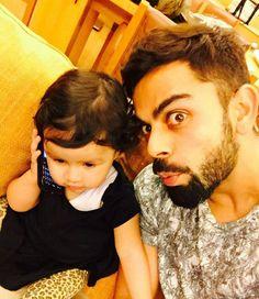 Virat Kohli clicks a selfie with Daughter of MS Dhoni Ziva