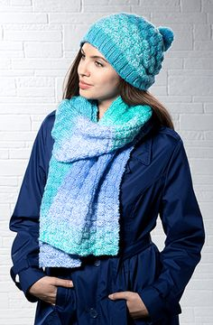 """Skill Level:Easy Finished Measurements: Hat Head Circumference: 19½ (21¼)"""" Scarf Width: 9"""" Length: 72"""" Materials Premier Yarns Candy Shop #1057-01 Jelly Bean – 3 balls Note – 1 ball of yarn will make the hat; 2 balls will make the scarf. Needles: For Hat - US Size 8 (5 mm) circular needles 16"""" long and set of 4 doubl Baby Hat Knitting Patterns Free, Knitting Needle Sets, Free Knitting, Free Crochet, Knitting Needles, Start Knitting, Irish Crochet, Baby Knitting, Knitted Hats"""