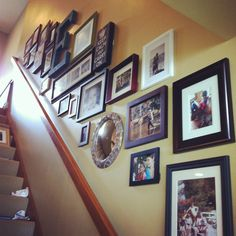 Photo Gallery Wall done in clients' lake home by Amber Tiller Designs