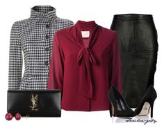 """Leather Skirt & Houndstooth Coat"" by sanchez-gaby ❤ liked on Polyvore featuring moda, Marella, VIPARO, Zetterberg, Rock & Republic, Yves Saint Laurent ve A B Davis"
