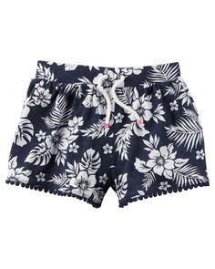 Pompom Trim Printed Shorts