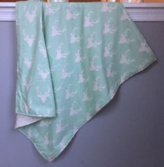 Minky Blanket Buck Forest Deer Blanket Mint and by WatchMyDive