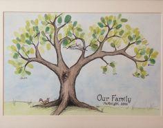 Meaningful Handprint Art Gifts:   Custom Family Fingerprint Tree by Ceramic Squirrels @ Etsy