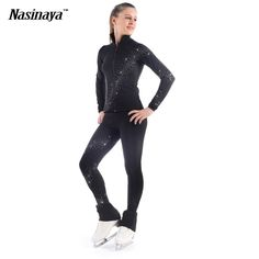 79.99$  Watch now - http://alid8s.worldwells.pw/go.php?t=32718120723 - Costume Customized Ice Skating Figure Skating Suit Jacket And Pants Spiral Wide Rhinestone Warm Fleece Adult Child Girl Black 79.99$