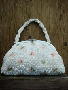 MAD MEN 60's purse handbag Beaded white with floral by KJHII, $24.00