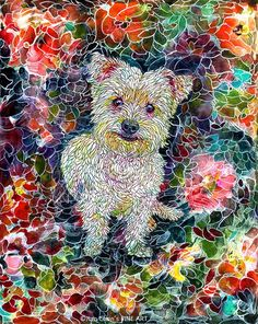 westie's flower dream3 different sizes to by JianChensFINEART