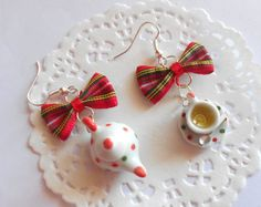 Tea time - Spotty Ceramic teapot  cup saucer spoon - handmade miniature polymer clay food jewelery