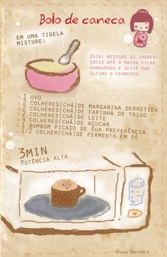 Bolo de caneca No Cook Desserts, Delicious Desserts, Yummy Food, Cooking Cake, Easy Cooking, All U Can Eat, Friend Recipe, Food Lab, Deserts