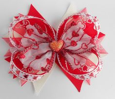 Valentine's Day Red and White Layered Boutique Bow... Valentine's Day Bow... Children's Hair bow