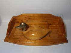 Men's wooden valet with duck, Vintage valet tray, Bedside organizer, bedside valet, Mens valet, brass and wood duck, brass duck head by tjmccarty on Etsy