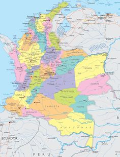 Map of Colombia, South America Columbia South America, South America Map, Latin America, South America Animals, America Memes, Equador, Map Design, Holidays And Events, Projects For Kids