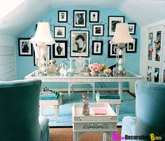 I like pastel with black & white touched with a bit of sparkle  in the form of glass, mirror ...~