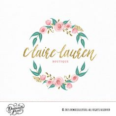 Wreath Logo Design with hand drawn flowers and leaves Perfect for photography, photographer looking to refresh their brand!