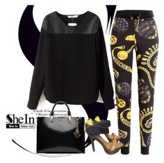 """""""SheIn Black PU Blouse"""" by detroitfashionista ❤ liked on Polyvore featuring Moschino, Karl Lagerfeld, Giuseppe Zanotti and shein"""