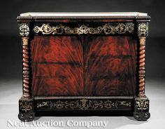 Isabelino Classical Carved Mahogany and Silvered Brass Inlaid Cabinet, c. 1840