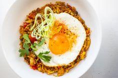 Nasi goreng - NewFysic Nasi Goreng, Eggs, Breakfast, Ethnic Recipes, Drinks, Food, Mushroom, Pineapple, Morning Coffee