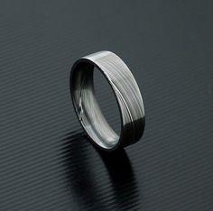 Acier Damas véritable acier inoxydable Mens Ring PD26