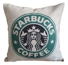 1)get plain white pillow  2)find Starbucks image online and print on transfer paper  3) Iron on picture