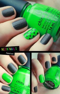 Black+neon+polka dots = <3