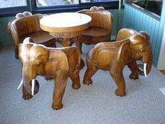 Awesome Hand Carved Teak Elephant Table & Four Chairs from diamondantique on Ruby Lane Elephant Table, Elephant Home Decor, Elephant Love, Elephant Art, Elephant Stuff, Elephant Decorations, Elephant Design, African Elephant, Elephants Never Forget