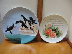 """Vintage 80's,Genuine Porcelain Plates from Japan,Lowell Herrero Vandor Collection Plate w/Penguins, """"Happy Birthday Plate"""" Lasting Memories by RockvilleCraft on Etsy"""