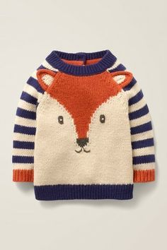 Buy Mini Boden Baby Fox Cub Striped Knit Jumper, Starboard Blue from our Baby & Toddler Knitwear range at John Lewis & Partners. Baby Knitting Free, Knitting For Kids, Easy Knitting, Baby Knitting Patterns, Knit Baby Dress, Knitted Romper, Knitted Blankets, Knitted Hats, Crochet Baby