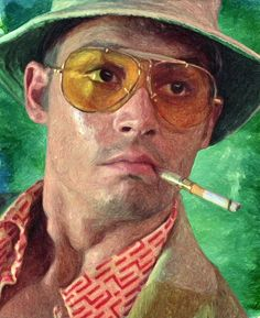 fear and loathing in las vegas, dark comedy, terry Gilliam, Johnny Depp, benicio del toro, benicio del toro, hunter s. Thompson, novel, movie, film, cult, drugs, lsd, marijuana, weed, cocaine, acid, decorative, home decoration, living room, bedroom, office, cafe, bar, pub, hollywood, psychedelic, pop art, painting, cool, gift ideas, poster, smoking, 70s, lowbrow art, gonzo journalism, portrait, narcotics, drawing, illustration, best seller