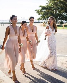 SQUAD GOALS // when you are your girls are owning it  love the dresses the colour scheme and the simplicity in hair and accessories! GORG!! BRIDE: @maria__assi  WEDDING DRESS: @janehillbridal  BRIDESMAIDS DRESSES: @mishacollection  BLOOMS: @ambrosia_floral_designs  HAIR: @kimagehair  PHOTOGRAPHY: @jessehiscophoto  SPOTTED: @brides_style  Xxx