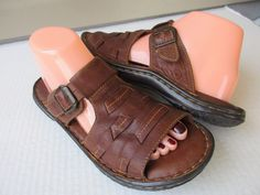 Born women sandals size 9 Brown Leather #Brn #Slides #Casual