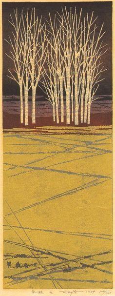 Fumio Fujita Woodblock Print - White Thicket 1974