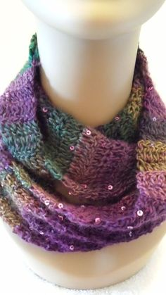 crochet sequin yarn | Crocheted Sequined Infinity Cowl Scarf Multicolor by softtotouch, $25 ...