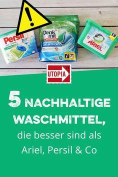 Nachhaltig waschen: 5 empfehlenswerte Öko-Waschmittel. Konventionelle Waschmittel enthalten oft Tenside auf Erdöl-Basis, Duftstoffe und Konservierungsstoffe. Utopia stellt fünf nachhaltige Öko-Waschmittel als Alternative vor für ein nachhaltiges Leben. #NachhaltigWaschen #NachhaltigesWaschmittel #NachhaltigLeben #NachhaltigHaushalt No Waste, Reduce Waste, Household Cleaning Tips, Cleaning Hacks, Home Organisation, Save The Planet, Worlds Of Fun, Sustainable Living, Stressed Out