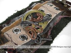 EDM Designs and Half Street Studio steampunk textile cuff steampunk wrist cuff steampunk cuff
