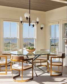 We'll take our meals with a view of the ocean and a PFM rug, please! Interior design by Organic Modern, Keep It Cleaner, Windows, Cleaning, Interior Design, Simple, Table, Furniture, Instagram