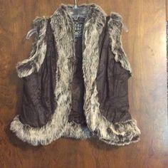Last Kiss faux fur vest Never worn! Brown vest with faux fur trim. Material is meant to look worn (3rd picture). Last Kiss Jackets & Coats Vests