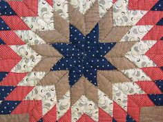 Detail, 1876 American Centennial Star Antique Quilt (Love the moons print!), eBay, alleyfloantiks