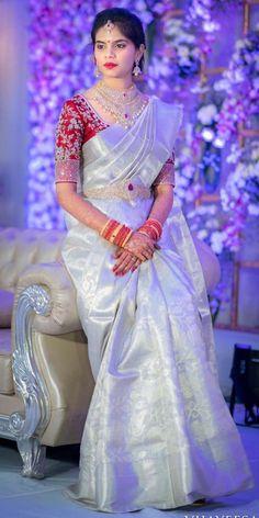 Discover thousands of images about mugdhaartstudio Wedding Saree Blouse Designs, Half Saree Designs, Pattu Saree Blouse Designs, Silk Saree Blouse Designs, Saree Blouse Patterns, Sari Design, Half Saree Lehenga, Saree Dress, Bridal Silk Saree