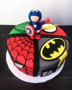 A front view of my superhero baby shower cake. I love how my little Captain America turned out! Marvel Baby Shower, Superhero Baby Shower, Superhero Birthday Cake, Avengers Birthday, Superhero Party, Boy Birthday, Cake Birthday, Birthday Ideas, Baby Shower Cakes
