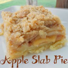 Apple Slab Pie- a wonderful dutch apple pie with an easy crust, cut into squares for a large group. Easy to serve and delicious! #Fall #holiday #Thanksgiving @Allrecipes