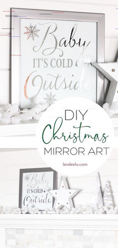 Tis the season to start Christmas crafting! This Pottery Barn knockoff mirror art is so easy and fun to make! Diy Christmas Art, Pottery Barn Christmas, Elegant Christmas, Christmas Design, Christmas Projects, Christmas Mantles, Victorian Christmas, Holiday Crafts, Vintage Christmas