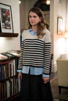Liza pairs her over sized sweater with a denim collard shirt and long skirt. From the creator of Sex and The City, 'Younger' stars Sutton Foster, Hilary Duff, Debi Mazar, Miriam Shor and Nico Tortorella. Discover full episodes at http://www.tvland.com/shows/younger.