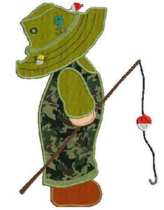 Sunbonnet Bill fishing embroidery Applique4 sizes8
