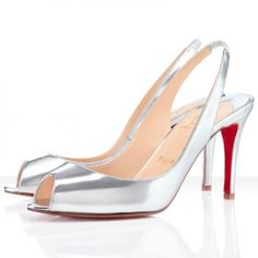 Christian Louboutin Red Bottoms You You Sling 85mm Leather Slingbacks Argento