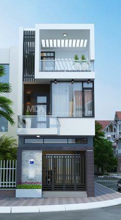 نتيجة بحث الصور عن mặt đứng nhà phố in 2020 3 Storey House Design, Duplex House Design, House Front Design, Small House Design, Modern House Design, Building Design, Building A House, Narrow House Designs, Small House Exteriors
