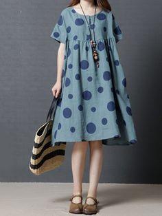 Shop Casual Dresses - Blue Polka Dots Linen Pockets Casual Casual Dress online. Discover unique designers fashion at JustFashionNow.com.