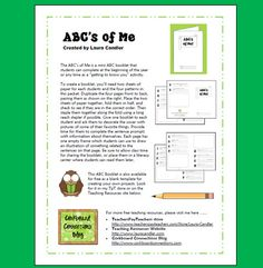Free ABC's of Me Mini Booklet from Laura Candler's Teaching Resources - includes templates and directions