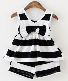 $9.41 Cute Bowknot Design Sleeveless Striped Dress   Shorts Twinset For Girl