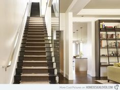 """This modern black stairs seems like a """"stairway to heaven"""" because it is long and narrow."""