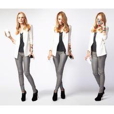Grey pants and white jkt.